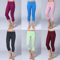 NEW 2014 wholesale Super Women's Candy Colors Yoga Capris Solid Girls GYM Crop LULU Wunder Under Pants Crop 10 colors size 2-12