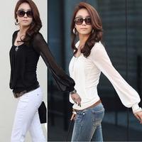 2014 Women Blouses And Shirts Plus Size Women White Black Blouses Women Long Sleeve Chiffon Blouse Vintage Shirt