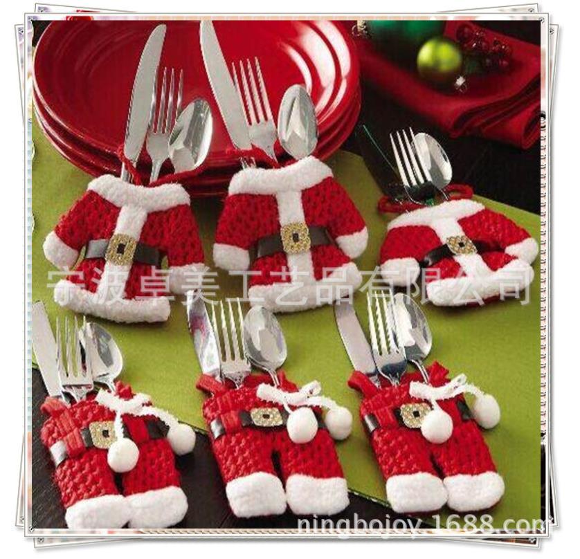 6Pcs Fancy Santa Christmas Decorations Silverware Holders Pockets Dinner Table Decor Free Shipping C10(China (Mainland))