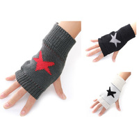 New Fashion Women Ladies Girls Star Arm Winter Warm Fingerless Gloves Knit Crochet Mitten Knitted Wrist, 4 Colors Free Shipping
