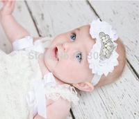 Drop shipping Baby Girl Tiara Crown Headband Frayed Shabby Flower Headband Hairband Newborn Photo Prop Hair Accessories