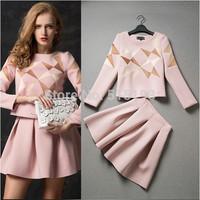 New Autumn Women's Fashion Blazer Suit Long Sleeve Vintage Geometric Pattern Print Clothing Set Casual 2 piece Dress Work Wear