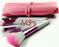 Hot!! 8pcs White Purple Fiber make up tools kit Cosmetic Beauty Makeup Brush Sets with Rose English Character Bag Case  Gift