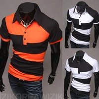 The new 2014 foreign trade Men in black and white color matching new personality is irregular Polo shirts with short sleeves