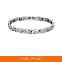 Women white Stainless Steel magnet Health Bracelet (MATE B182)