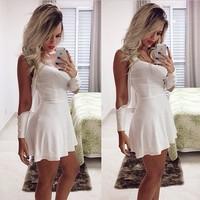 2015 summer fashion white cutout sleeve bandage short dress club party sexy skater dress vestido