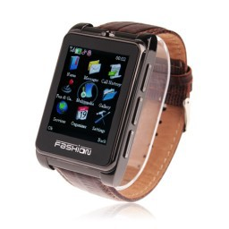 S9110 Quad Band Watch Phone 1.8 Inch Touch Screen Bluetooth Camera with Bluetooth Earphone - Brown(China (Mainland))