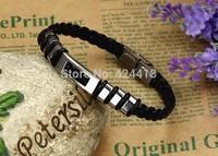 free shipping 2014 Fashion titanium leather bracelet