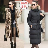2014 New winter Women Parka Korean Slim fitting military jacket fur collar with belt, Women WInter Coat, Long Style, L-3XL!