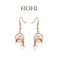 11.11 Big SALE women dolphin earrings Elegant rose Gold Plated  long earrings balls made with Zircon fashion earrings