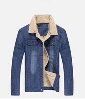 roupas masculinas 2014 winter jacket men's fashion denim jacket men casual flocking jeans jacket man brand coat outdoor clothes