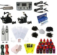 Free Shipping Complete Tattoo Kit 2 Machine Gun Set Power Supply 15 Color Inks