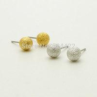 Free shipping 10pcs/lot Matte Ball Shape Stud Earring Gold/Silver/Rose-gold Plated Matte Convex Ball Stud Earring ED057