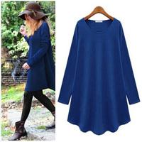 New Fashion 2014 Autumn Winter Dress Women Casual Denim Elegant Work Office Plus Size Cotton Dresses BK01