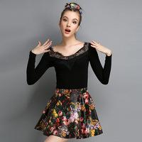 Free shipping fashion black ong-sleeved shirt lace stitching T- shirt  04725