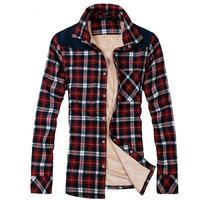 Winter plus thick velvet long-sleeved shirt Mens warm British style luxury casual shirt sub M-XXXL