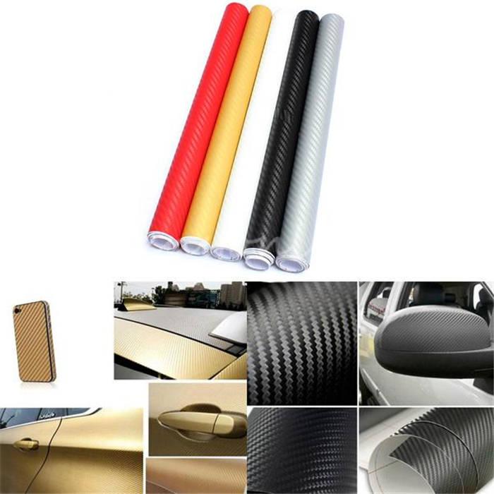 Hot Selling DIY 30x127cm 3D High Quality Carbon Fiber Decal Vinyl Film Wrap Roll Adhesive Car Sticker Sheet Wrap 5 Colours(China (Mainland))