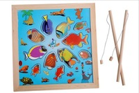 Wooden fishing toy wholesale fishing jigsaw puzzle DDM02 fishing fishing toy for children