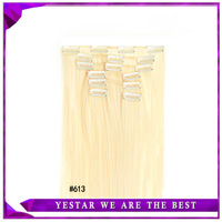 Cheap Wholesale Popular Girl Women Synthetic Hair High Temperature Fiber Clip In Hair Extensions 22inch 7pcs/set 130g #613 Color