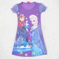 Girls Dress Elsa Ana Frozen Dress Princess New 2014 Cartoon Print Baby Girls Children Mesh Dresses for 2-6 Years Party Baby Kids
