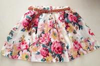 2014 Summer Top Selling Fashion New Women Ladies Retro High Waist Pleated Floral Chiffon Sheer Short Mini Skirt NOT BELT