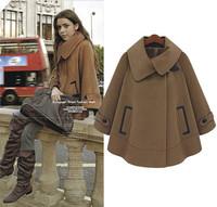 2014 Winter Coat Women Plus Size Cloak Wool Coat Bat Sleeve Poncho Fashion Casual With Pockets Outerwear S,M,L,XL,XXL Overcoat