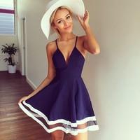 2015 summer plunge v neck mesh stripes skater dress cocktail celebrity beach holiday dress casual