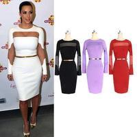 Kim Kardashian Celebrity Dress Long Sleeve 2014 New Knee Length Little Black Cocktail Dress Red Carpet Sheath Plus Size XL XXL