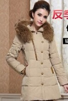 free shipping Luxury large real fur collar women's medium-long down coat  thick 2014 slim plus size  fashion  winter style