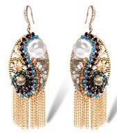 TIANSHE 2014 new brand Elegant SWA element crystal flower shape white freshwater pearl long tassel drop earrings for women,015