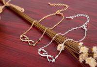 2014 Fashion cute 18k Gold/silver charm Infinity Endless Love bracelets,brass infinite jewelry -Free shipping