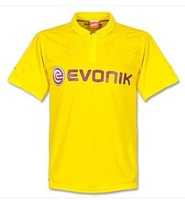 best quality soccer uniforms embroidered logo 14/15 Borussia Dortmund BVB home yellow away soccer football jersey + shorts kits,