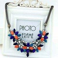 Shourouk Resin Gem Rhinestone Black Alloy Collar Chunky Statement Necklace & Pendants 2014 Fashion Jewelry Women Wholesale N43