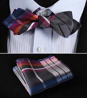 JC401K Pink Blue Check Silk Men Diamond Point Tip Self Bow Tie Pocket Square Handkerchief Hanky Suit Set
