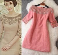2014 Brand Short Sleeve Desigual Solid Women Dress Autumn Winter Handmade Beading Slim Dress Evening Dresses Queen Temperament