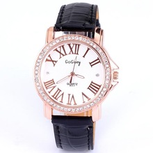 Hot sales free shipping quartz dress diamond roman number leather fashion jewelry gift women leather strap