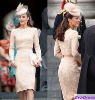 2014 Newest Sheath Bateau Long Sleeves Sashes Knee Length Lace Elegant Champagne Kate Middleton Celebrity Dress Evening