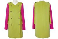 ON Sale promotion femininos new 2014 women coat  colorant match woolen outerwear medium-long wool coat windbreaker Cheap HOT
