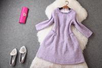 2014 Brand Desigual Handmade Beading Women Dress Autumn Winter Slim Solid Evening Dresses Queen Temperament Vestidos Best Sell