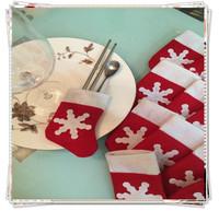 10pcs mini christmas stocking tableware knife and fork bags,Christmas tree decoration navidad Supplies,Christmas gift new year
