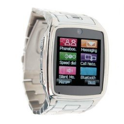 TW810 Watches Style Cell Phone IPS Screen Bluetooth Java Camera Silver(China (Mainland))