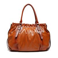 2015 new arrival  solid women handbags zipper handmade big fold shoulder real 100% genuine leather cowhide leisure bags