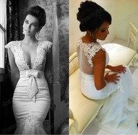 Berta New 2014 Sexy and Elegant Mermaid V-neck Sashes Short Sleeve Zipper Bridal Gowns Wedding Dress vestido de noiva