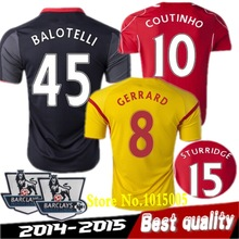best quality 2015 Liverpool red and yellow black football jersey 14 15 COUTINHO BALOTELLI GERRARD HENDERSON Sportswear(China (Mainland))
