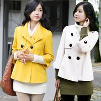 Spring and autumn ladies short paragraph woolen coat Korean double breasted collar woolen garment W397