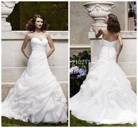 WD079 Wedding Dress 2015 A-line Strapless Sweetheart Neck White Organza Ruffles Plus Size Wedding Dress