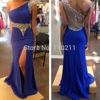 ED275 Sexy One Shoulder Sheath Chiffon Blue Evening Dresses 2014 New Arrival Long Formal Evening Gowns Thigh Split Crystals
