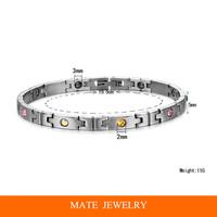 Women Multicolor crystal Stainless Steel magnet Health Bracelet (MATE B183)
