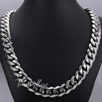Personalized 14.5mm Heavy Polished Silver Tone Cut Curb Cuban Mens Chain 316L Stainless Steel Necklace Fleur De Lis Clasp HN48