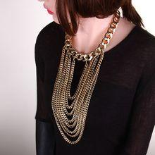Fashion Gold Metal Tassel Chokers Necklaces Women Long Tassel Chain Pendants Necklace Vintage Collar Personality Women